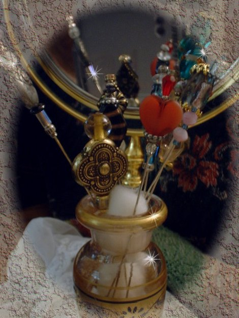 Pins in a Perfume Bottle